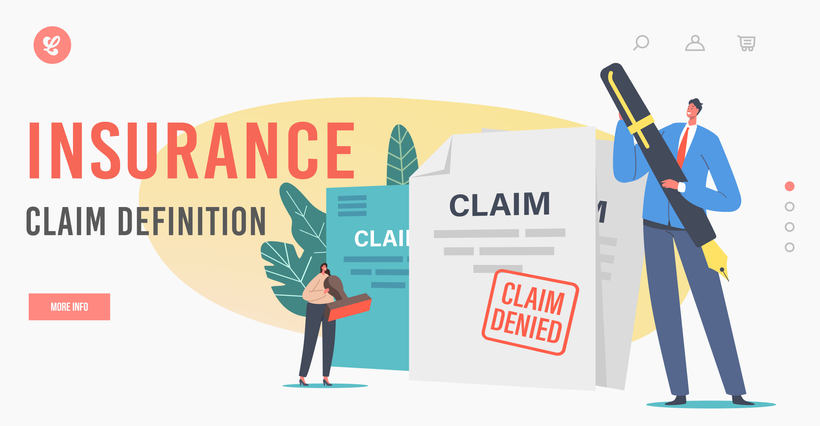 Insurance Claim Definition Landing Page Template. Tiny Characters at Denied Certificate. Protection of Health, Life